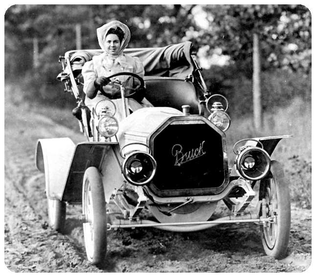 1910 Buick with Lady
